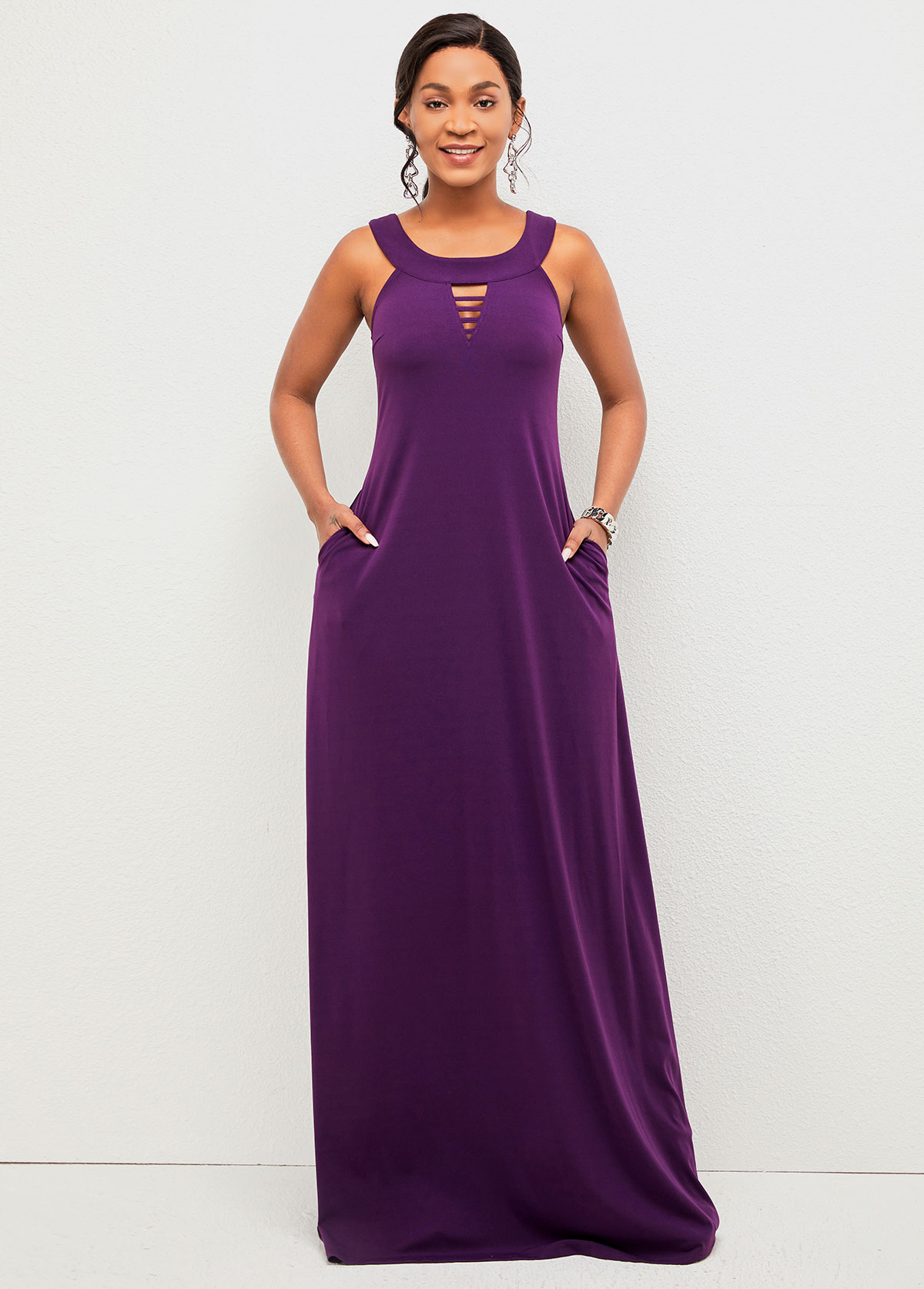 Pocket Detail Ladder Cutout Wide Strap Dress