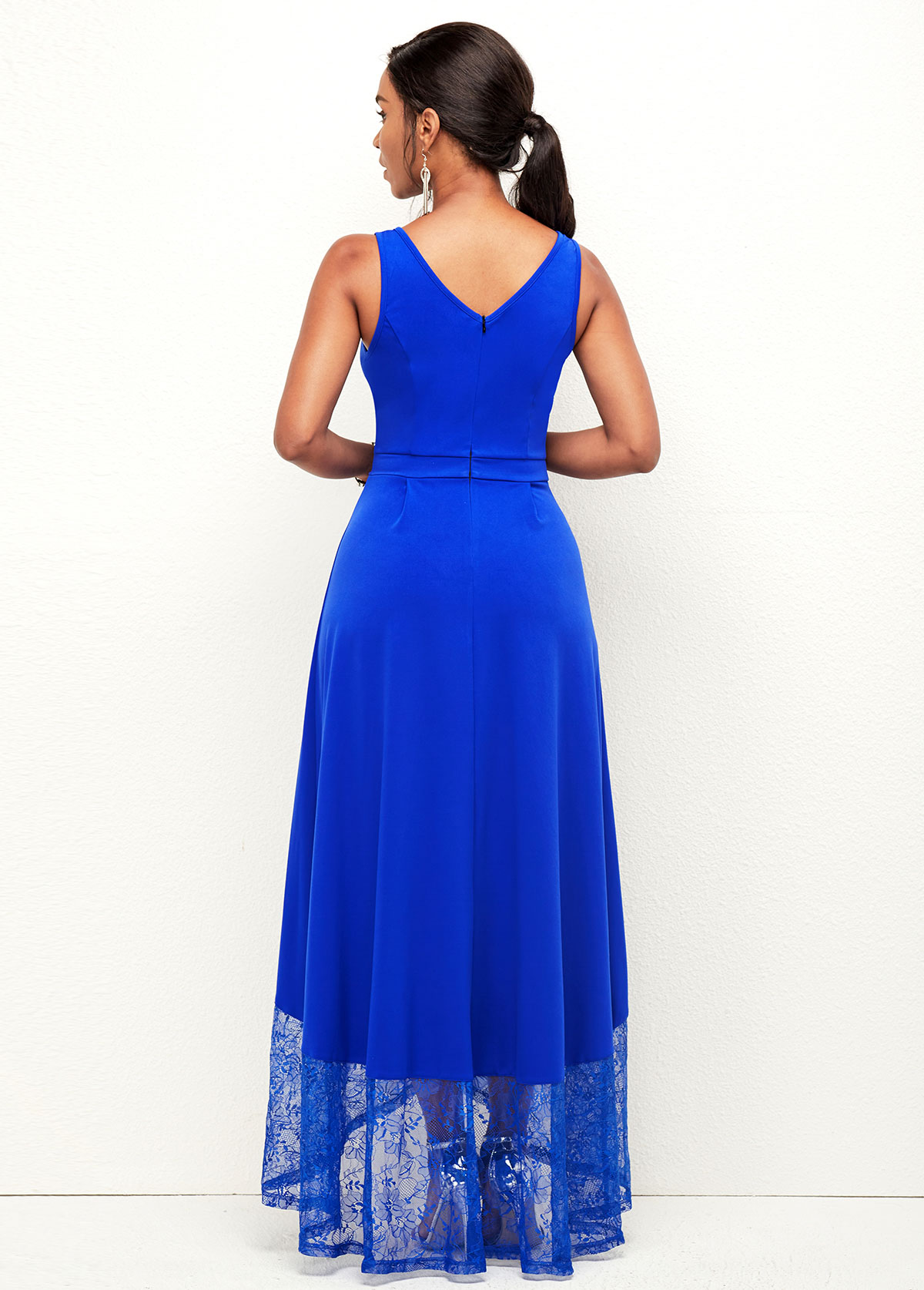 Asymmetric Hem Lace Stitching Wide Strap Dress