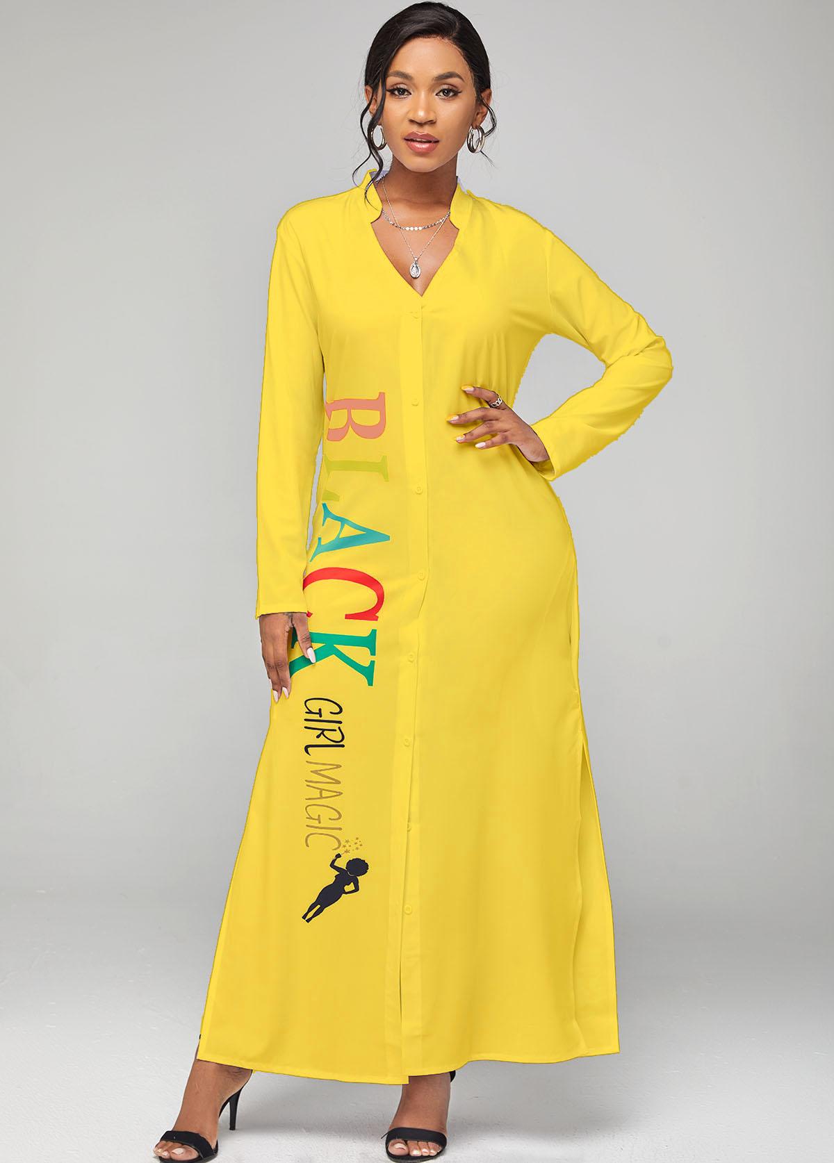 Long Sleeve Side Slit Letter Print Dress