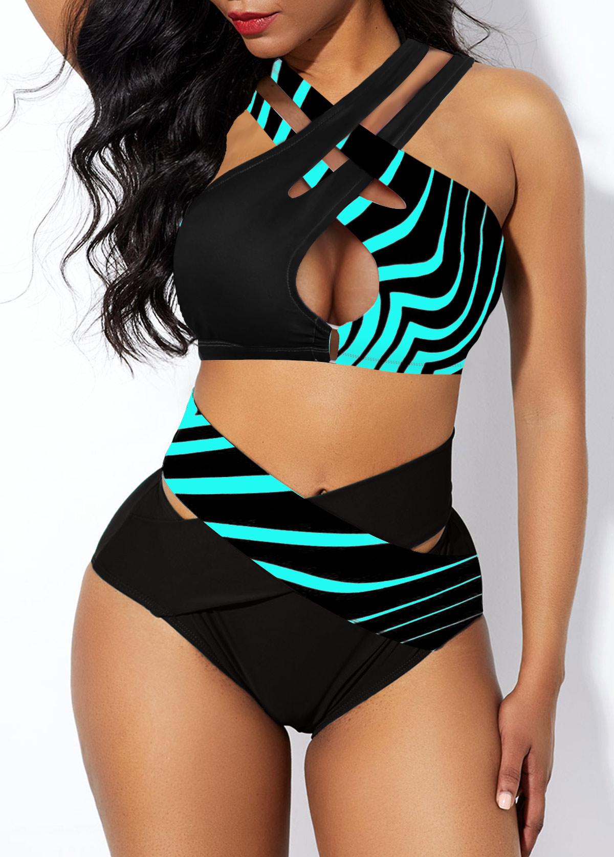 High Waist Striped Cross Strap Bikini Set