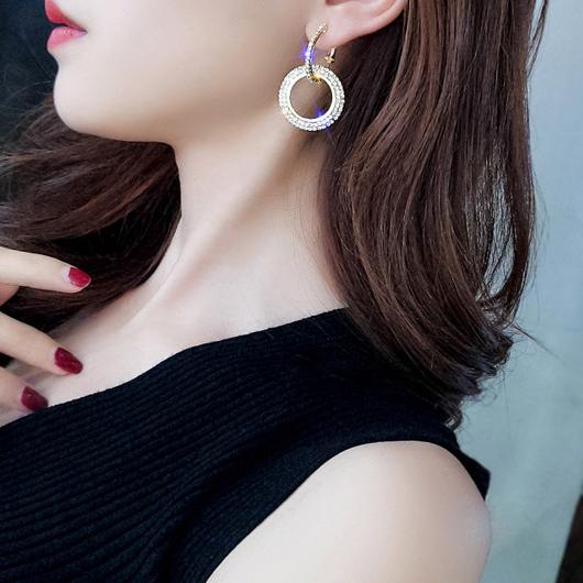 Design Rhinestone Detail Double Ring Earring Set