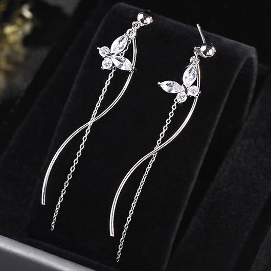 Silver Butterfly Design Rhinestone Detail Earring Set