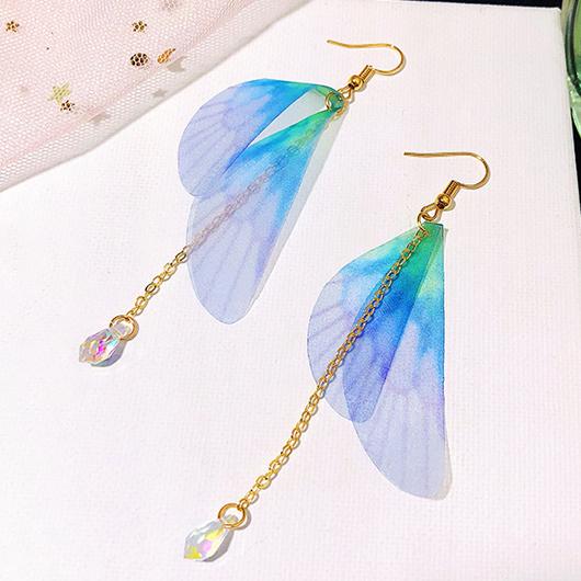 Metal Detail Butterfly Wings Design Crystal Earring Set