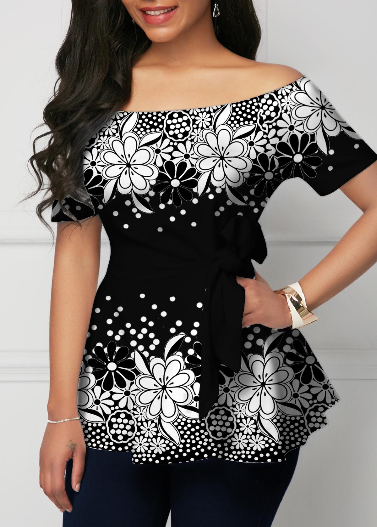 Floral Print Ombre Polka Dot Off Shoulder T Shirt