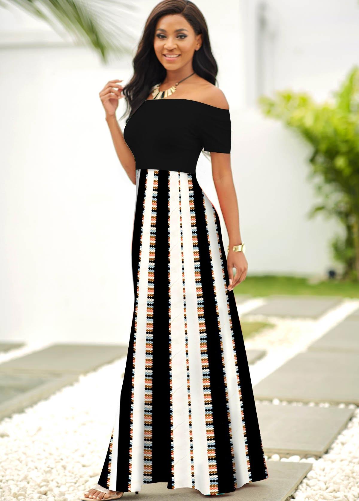 Contrast Striped Off Shoulder Short Sleeve Dress