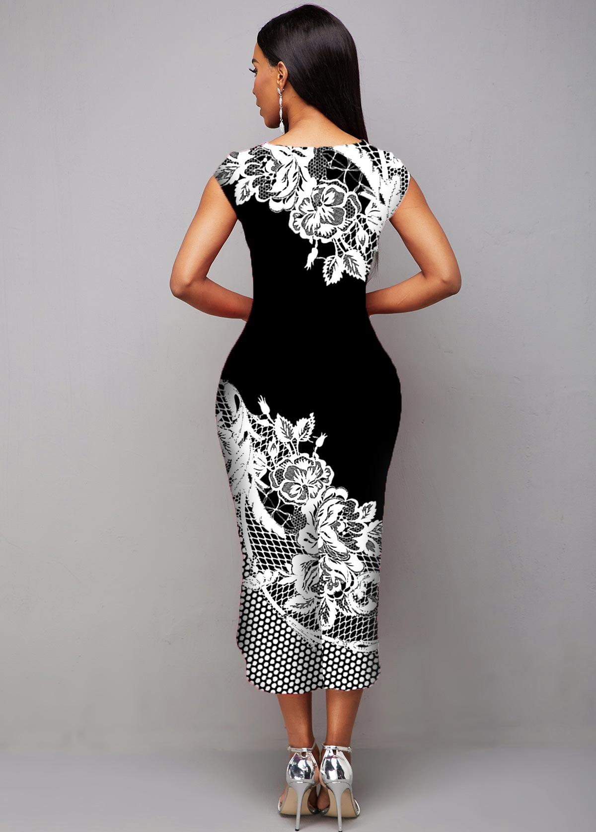 Asymmetric Hem Floral Print Cap Sleeve Dress