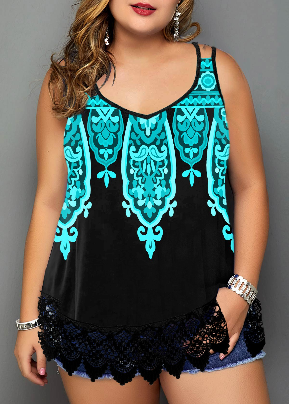 Lace Trim Plus Size Tribal Print Camisole Top