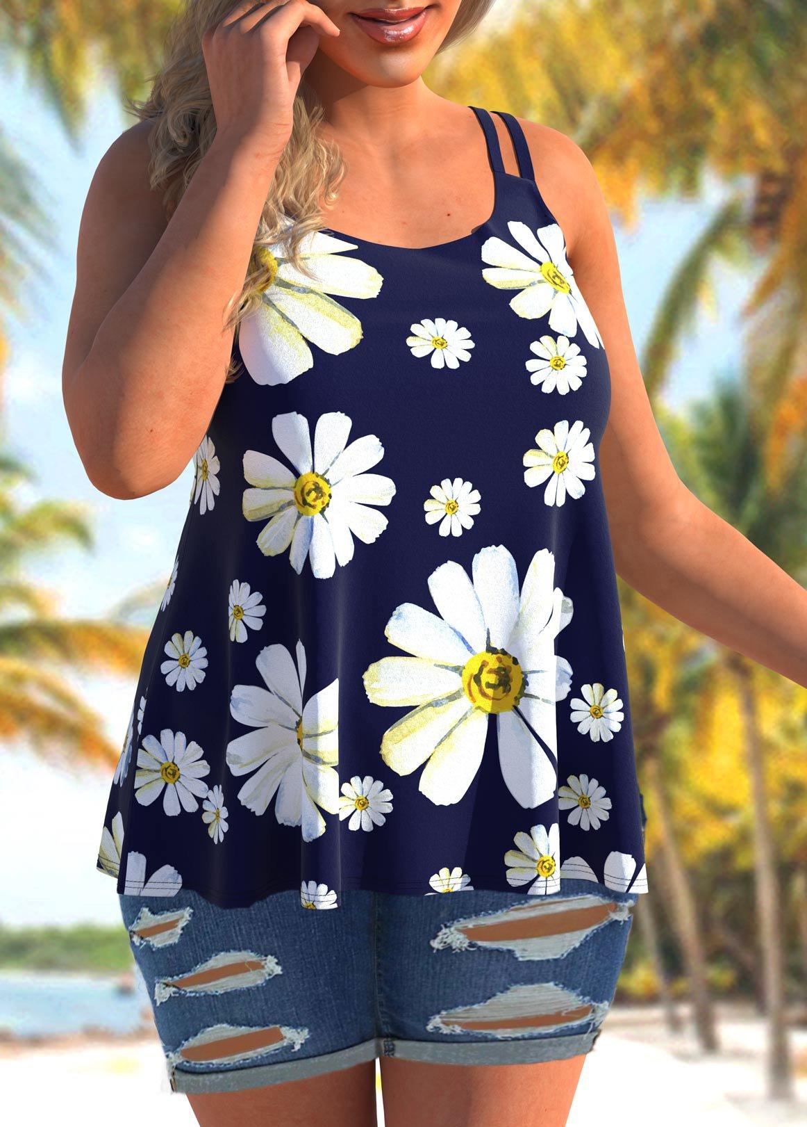 Wide Strap Plus Size Daisy Print Camisole Top