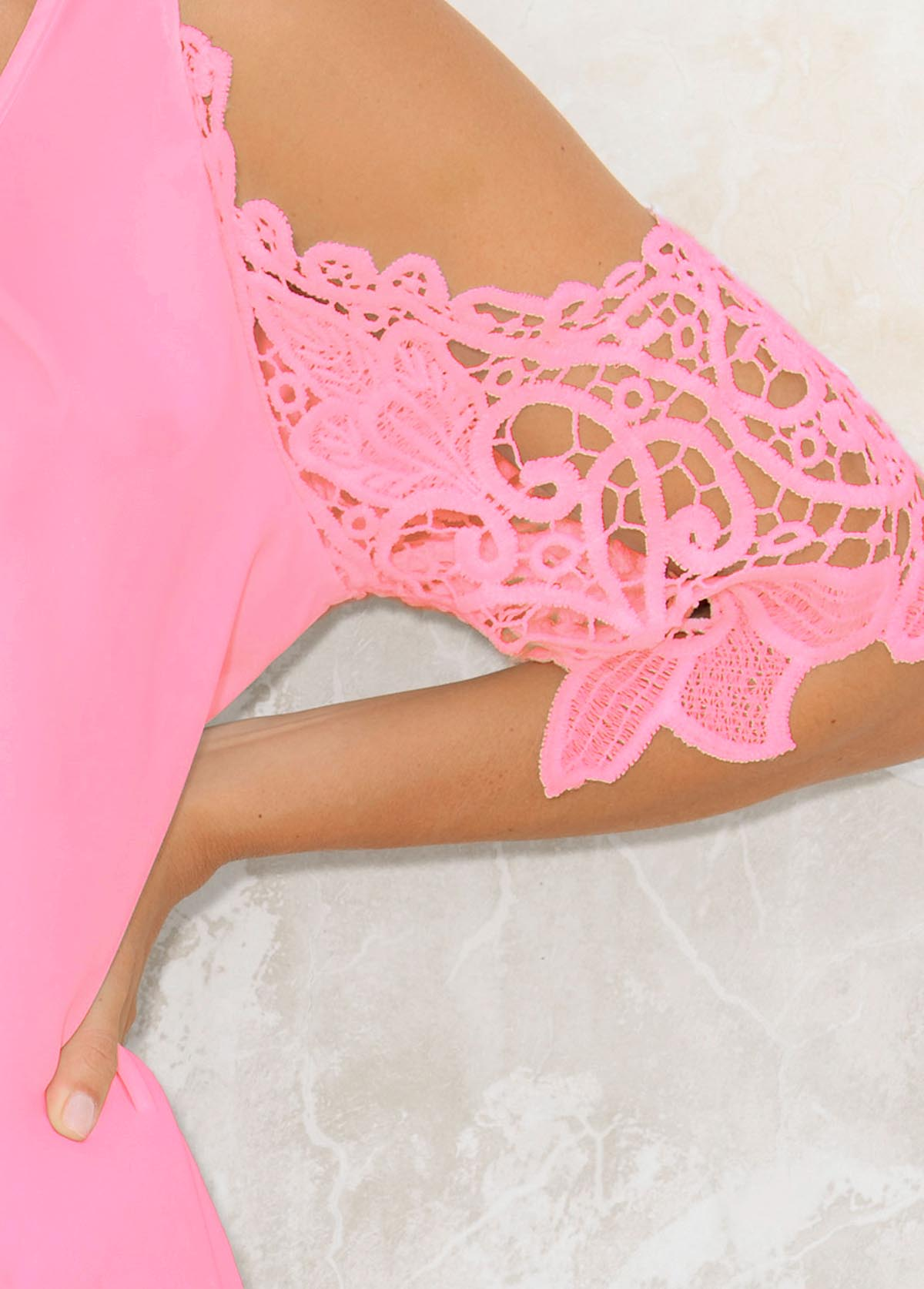 Lace Stitching 3/4 Sleeve Cold Shoulder Blouse