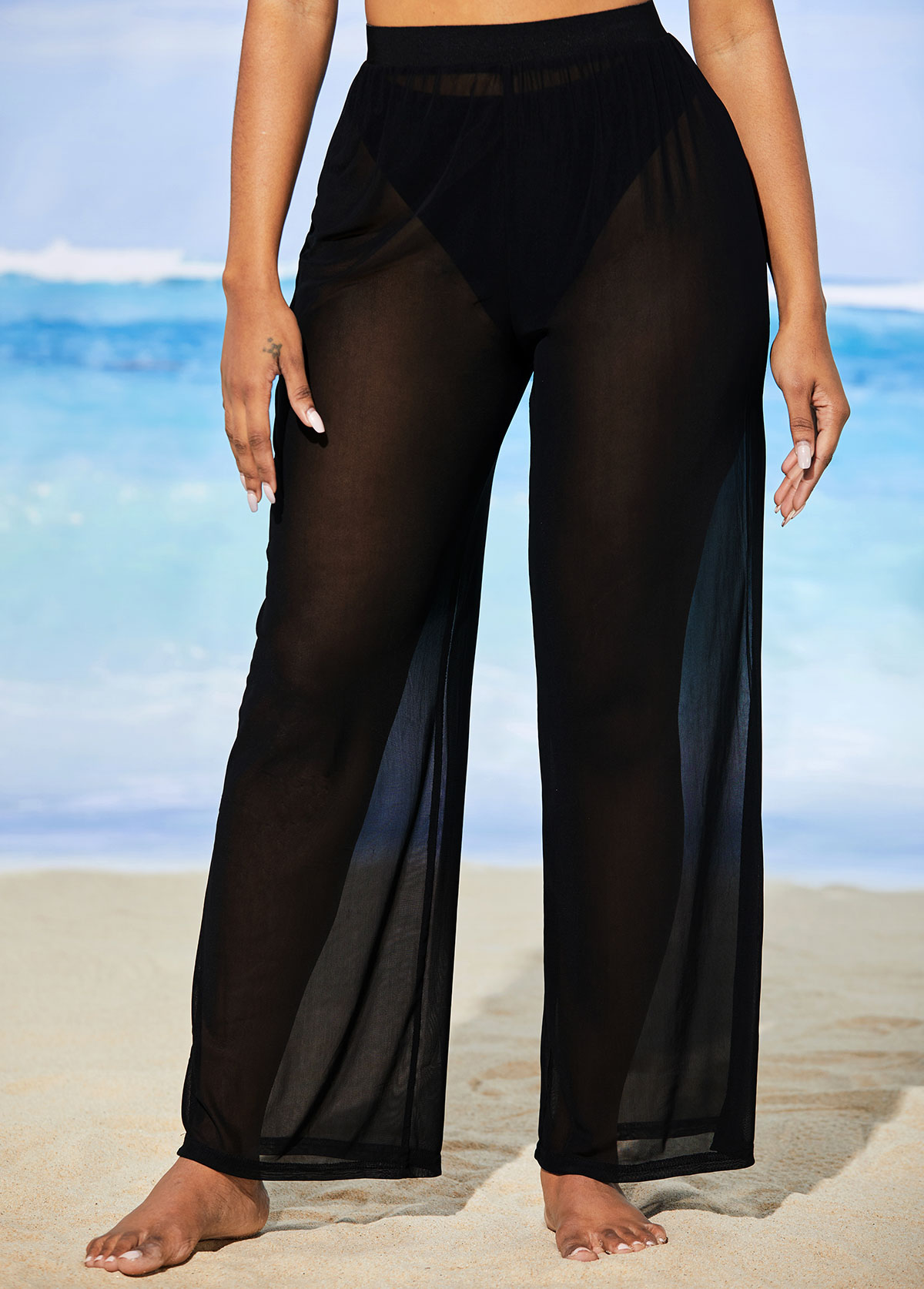 Mesh High Waisted Solid Beach Pants