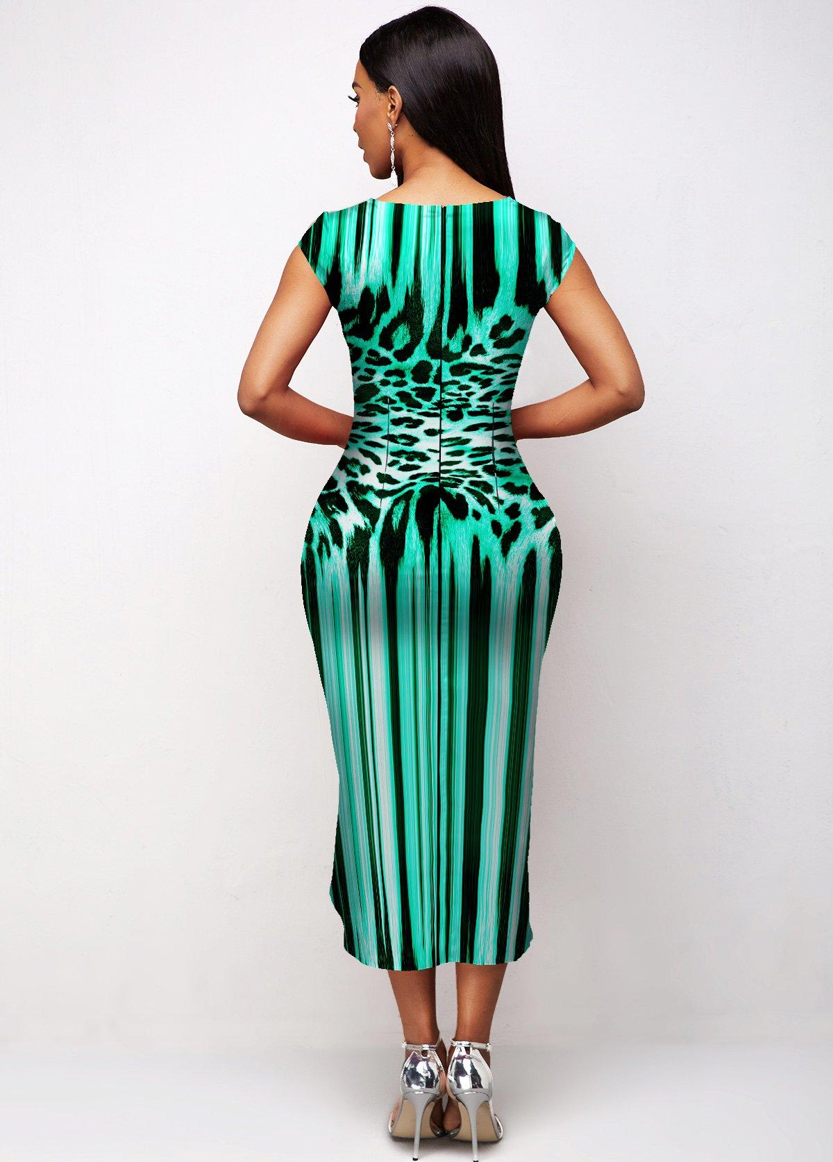 Leopard Short Sleeve Asymmetric Hem Dress