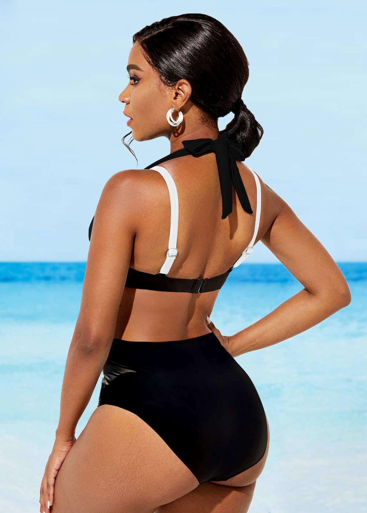 High Waisted Halter Wide Strap Bikini Set