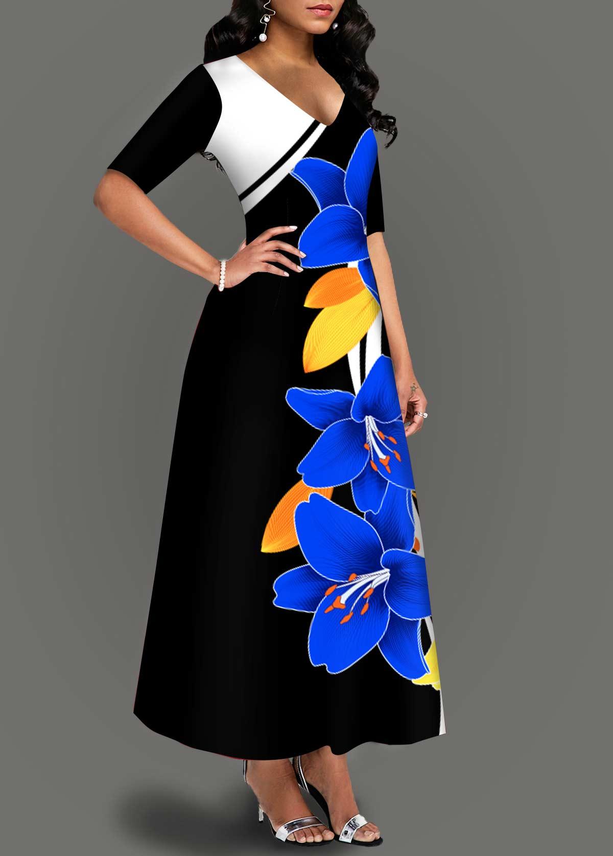 Half Sleeve Floral Print V Neck Dress