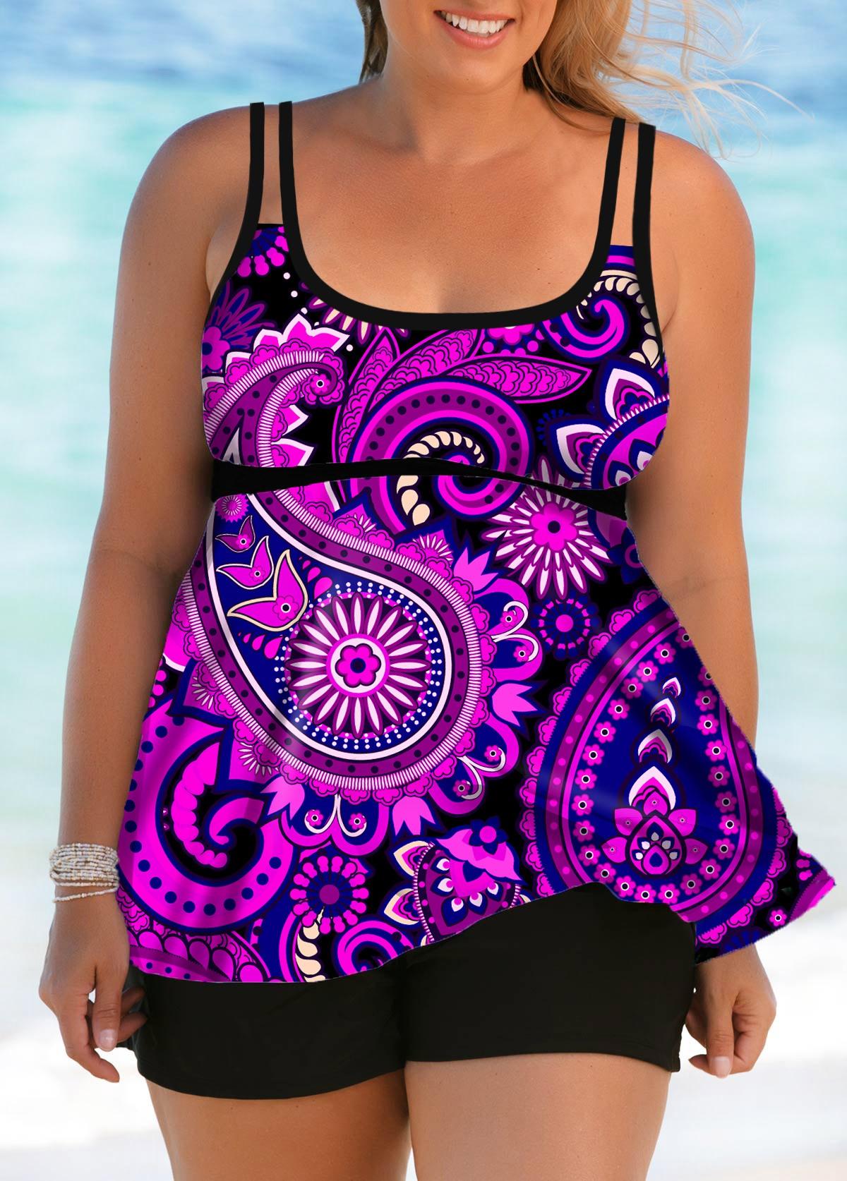 Double Straps Paisley Print Plus Size Swimdress and Shorts