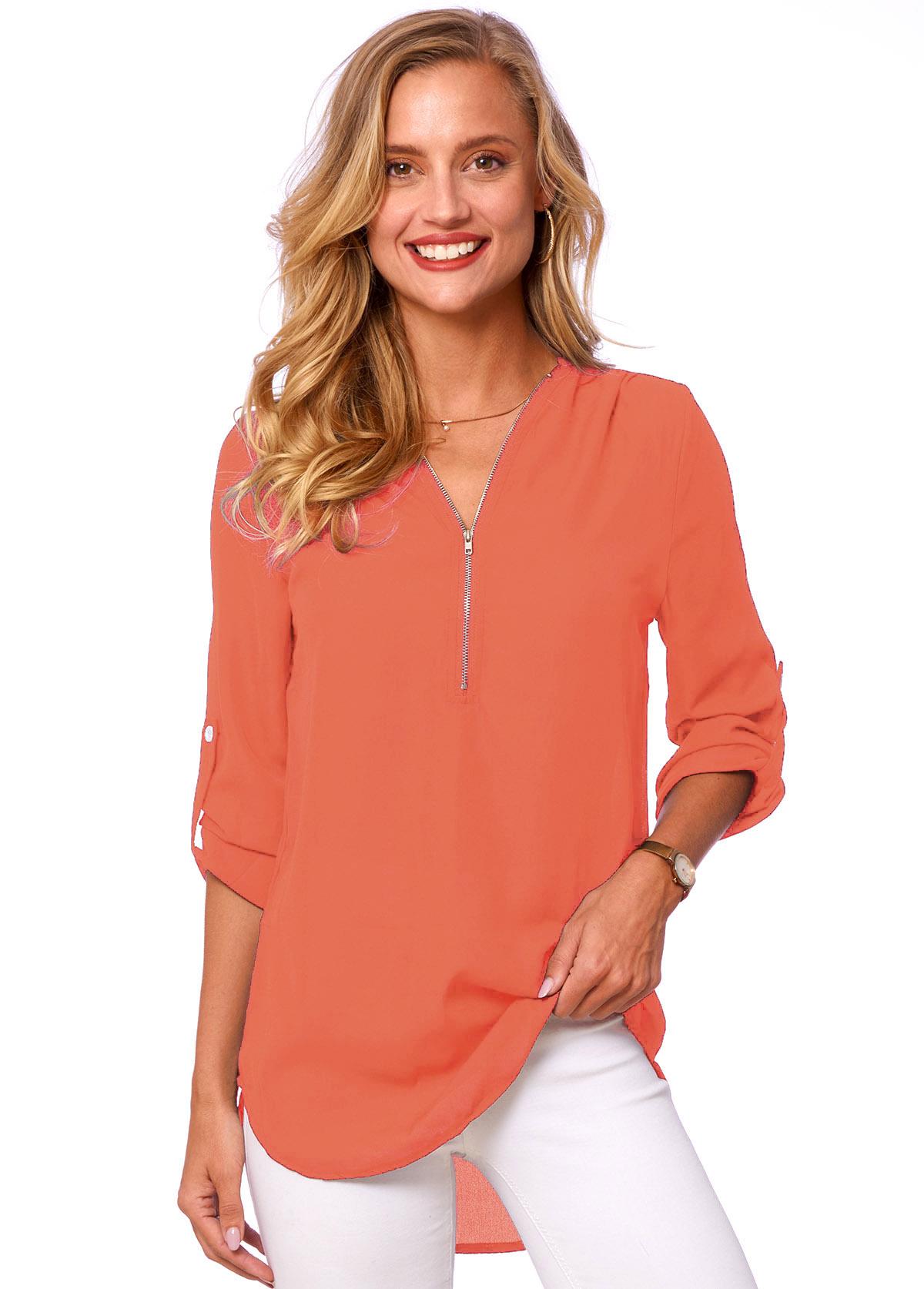 Quarter Zip Long Sleeve Solid T Shirt