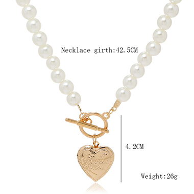 Pearl Heart Design Necklace for Lady