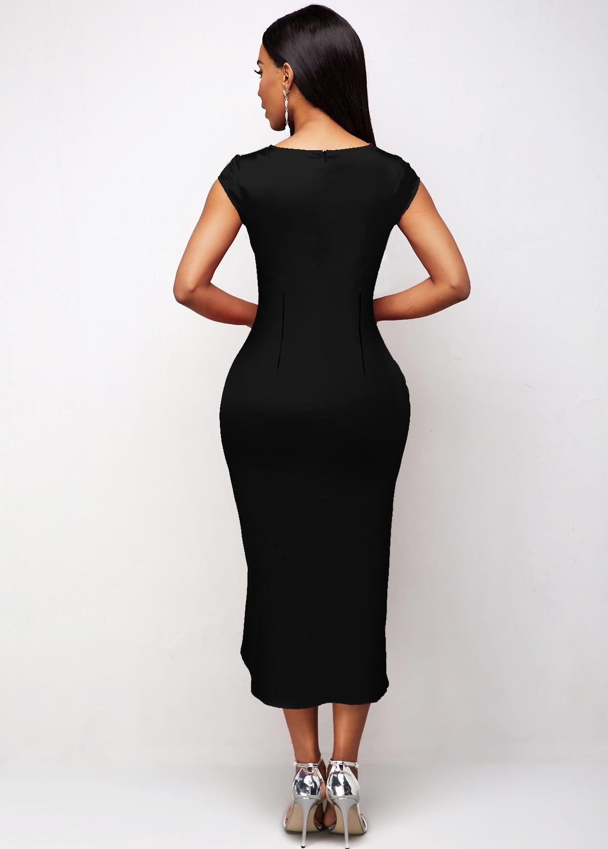 Asymmetric Hem Floral Print Short Sleeve Dress