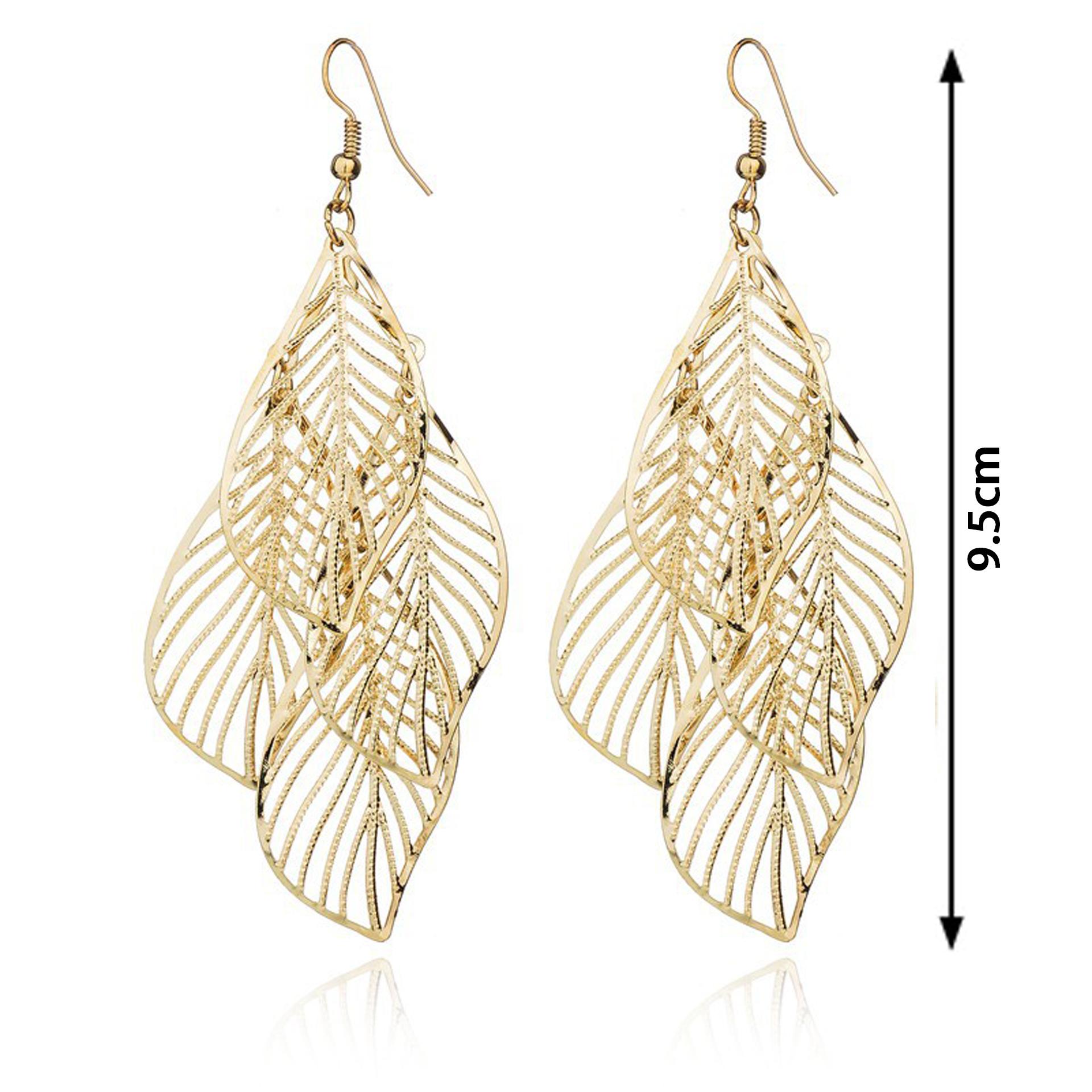 Metal Detail Leaf Design Gold Earring Set