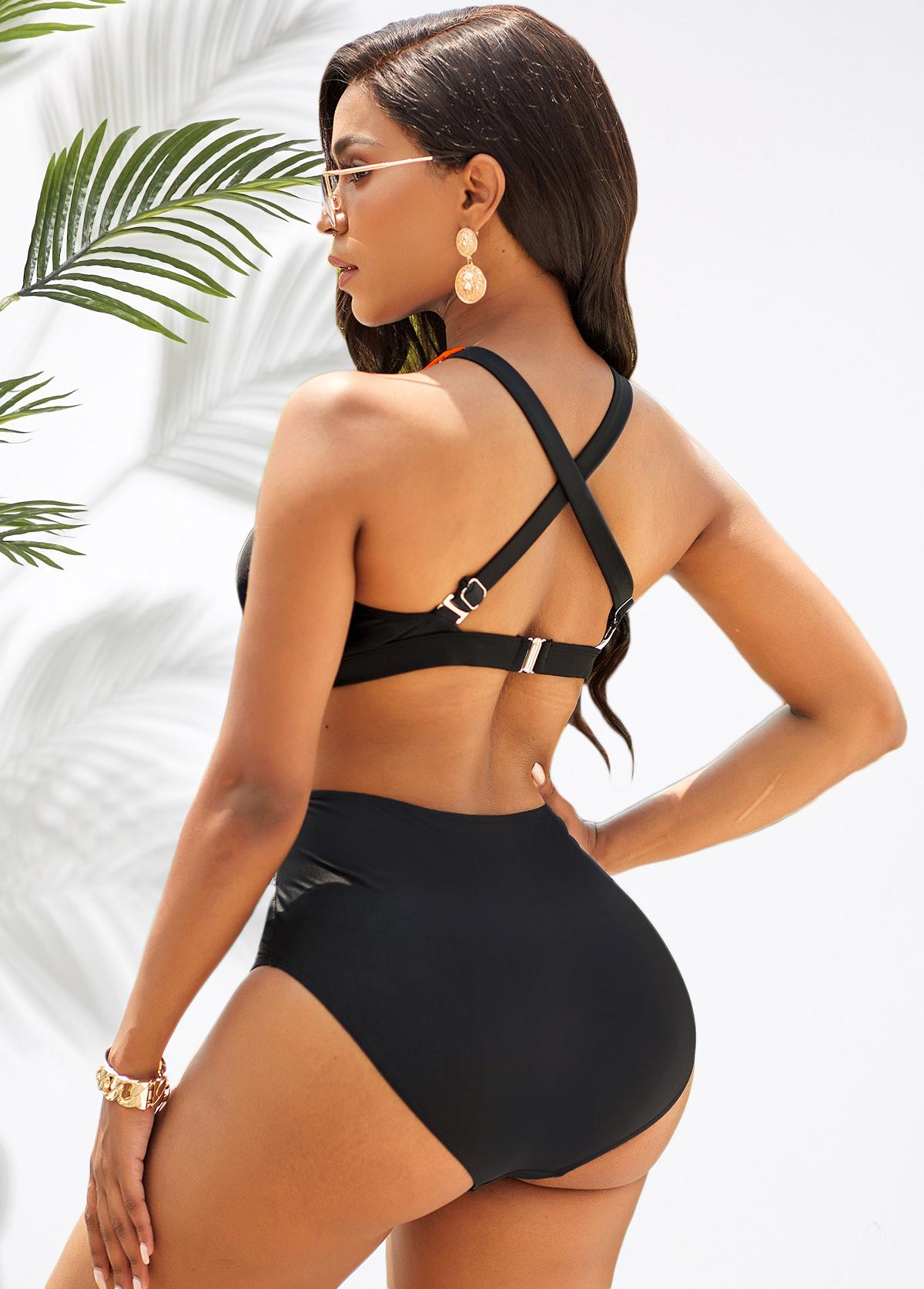 High Waisted Cross Strap Color Block Bikini Set