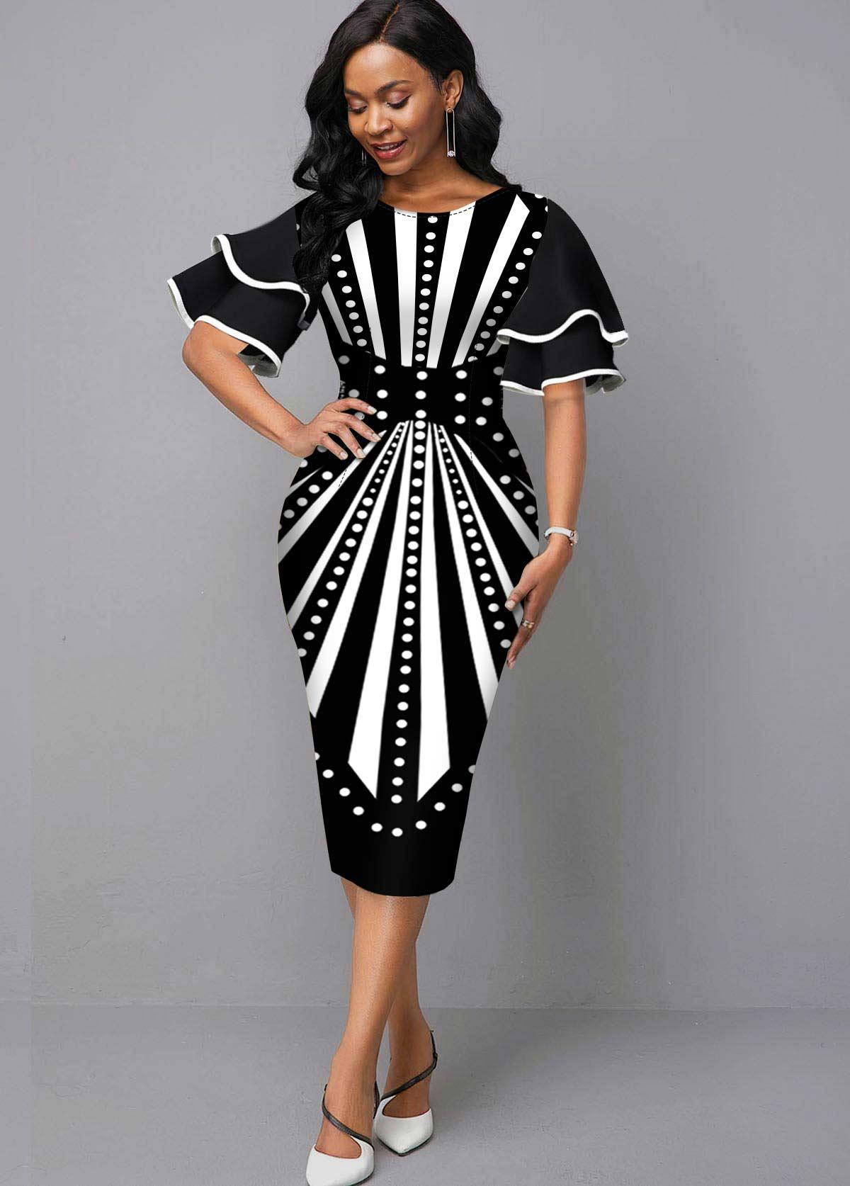 Radial Print Round Neck Sheath Dress