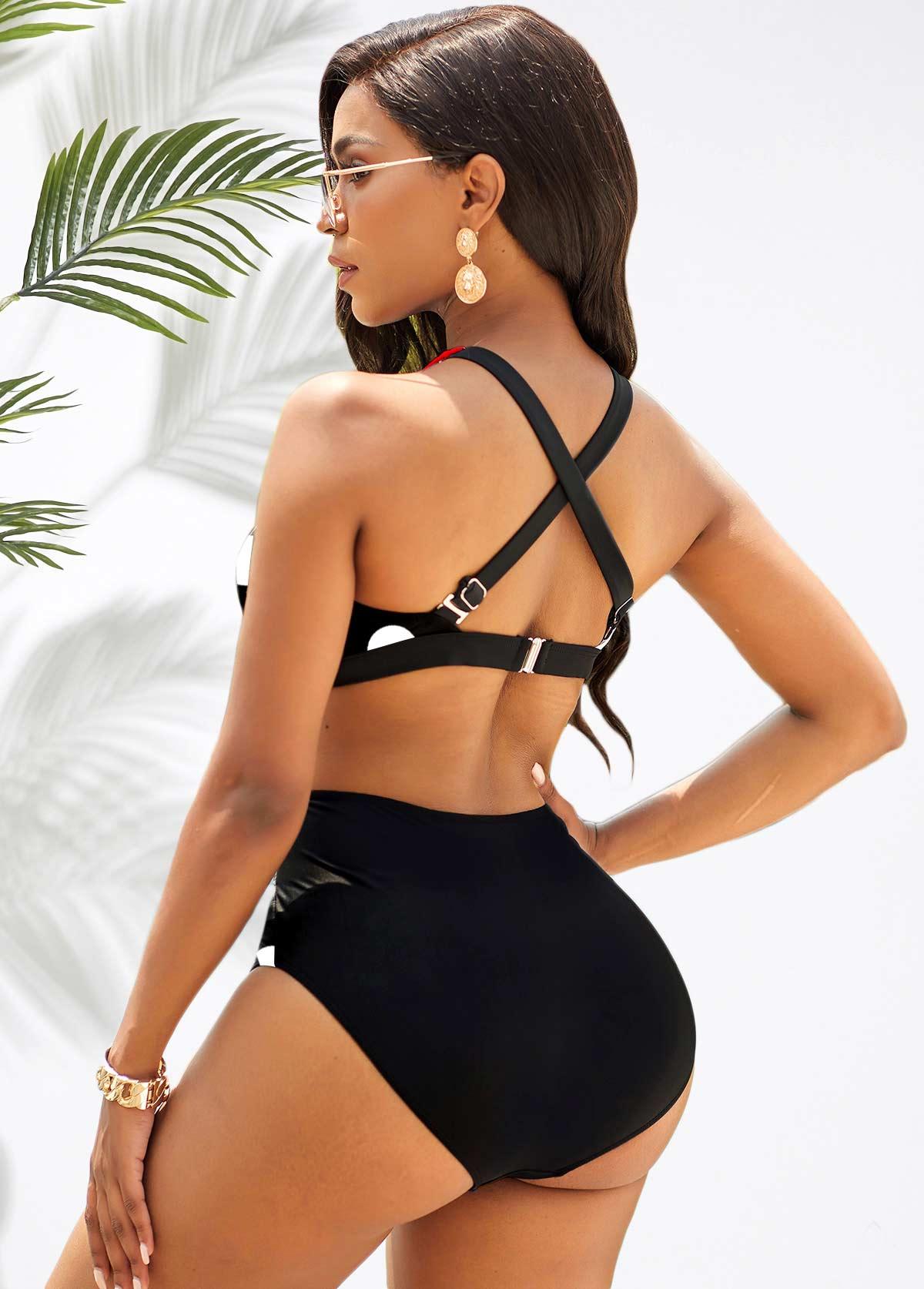Cross Strap Polka Dot Contrast Bikini Set