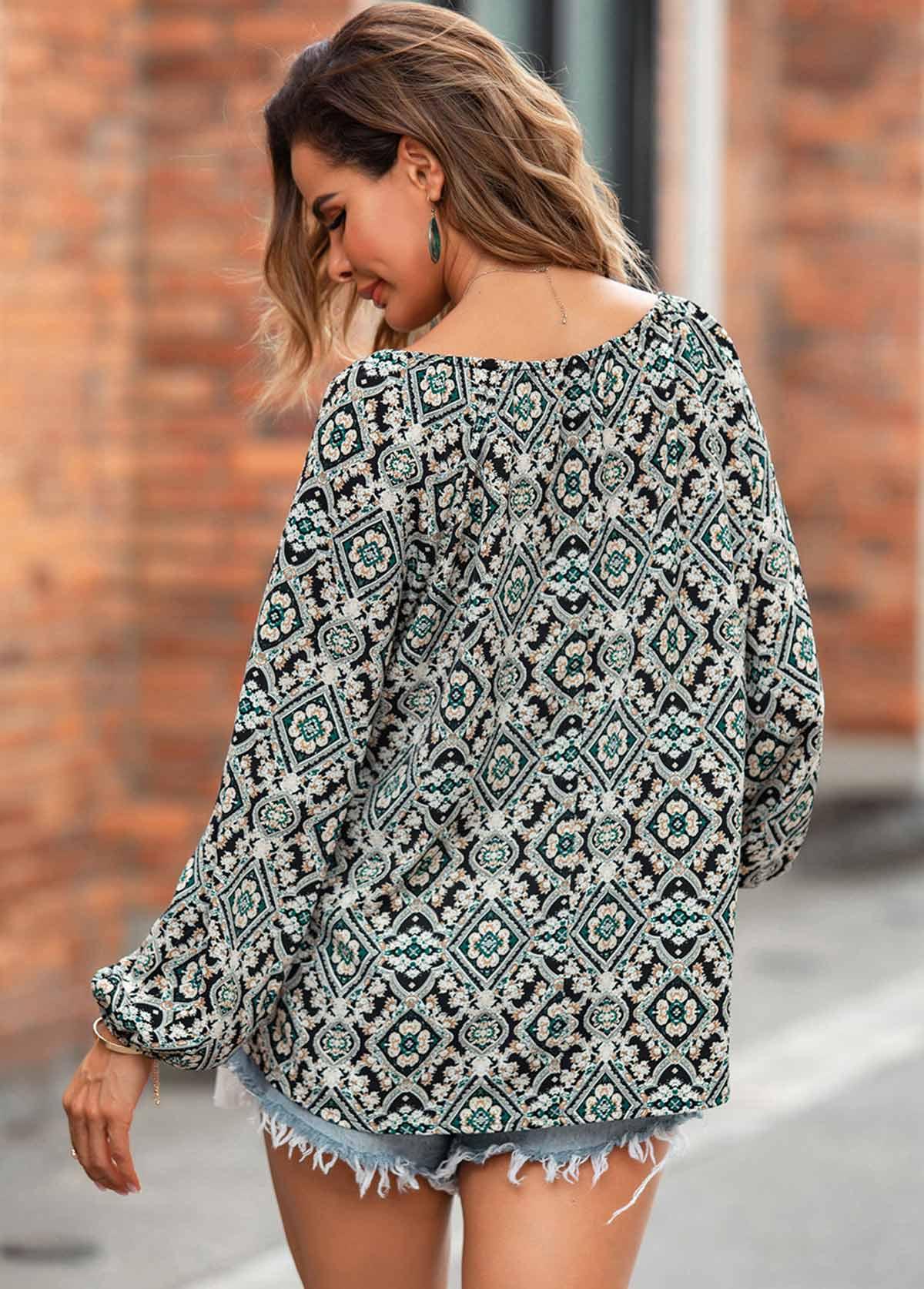 Long Sleeve Geometric Print Tassel T Shirt
