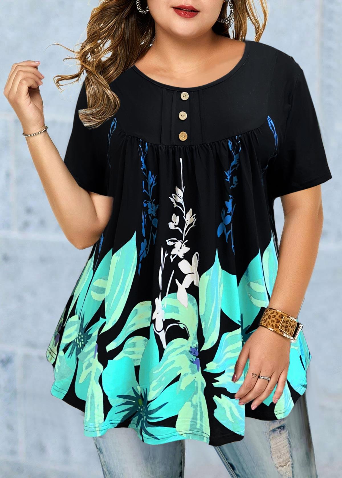 Floral Print Short Sleeve Plus Size T Shirt