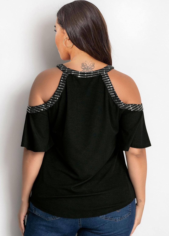 Plus Size Sequin Cold Shoulder T Shirt