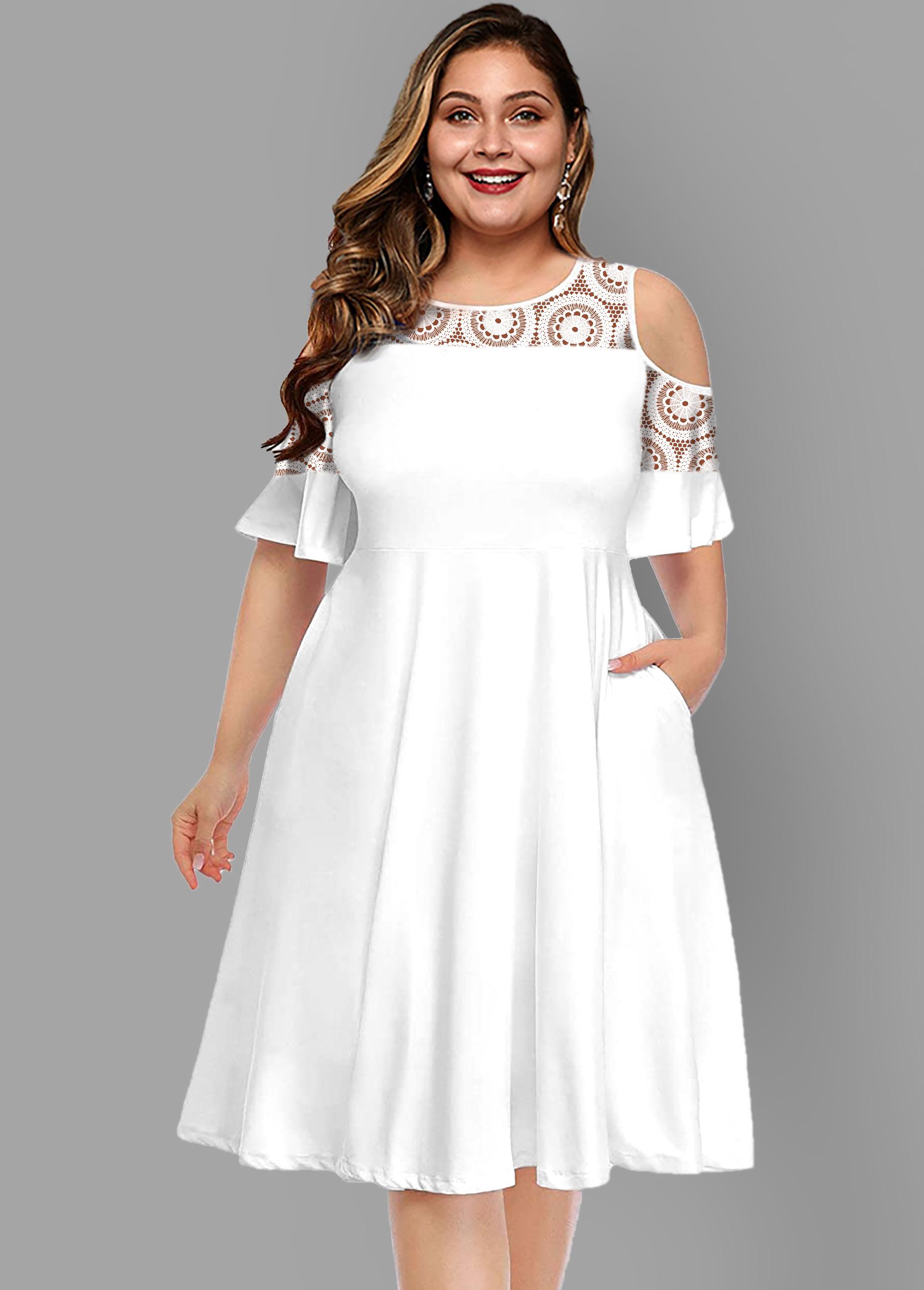Lace Patchwork Cold Shoulder Plus Size Dress