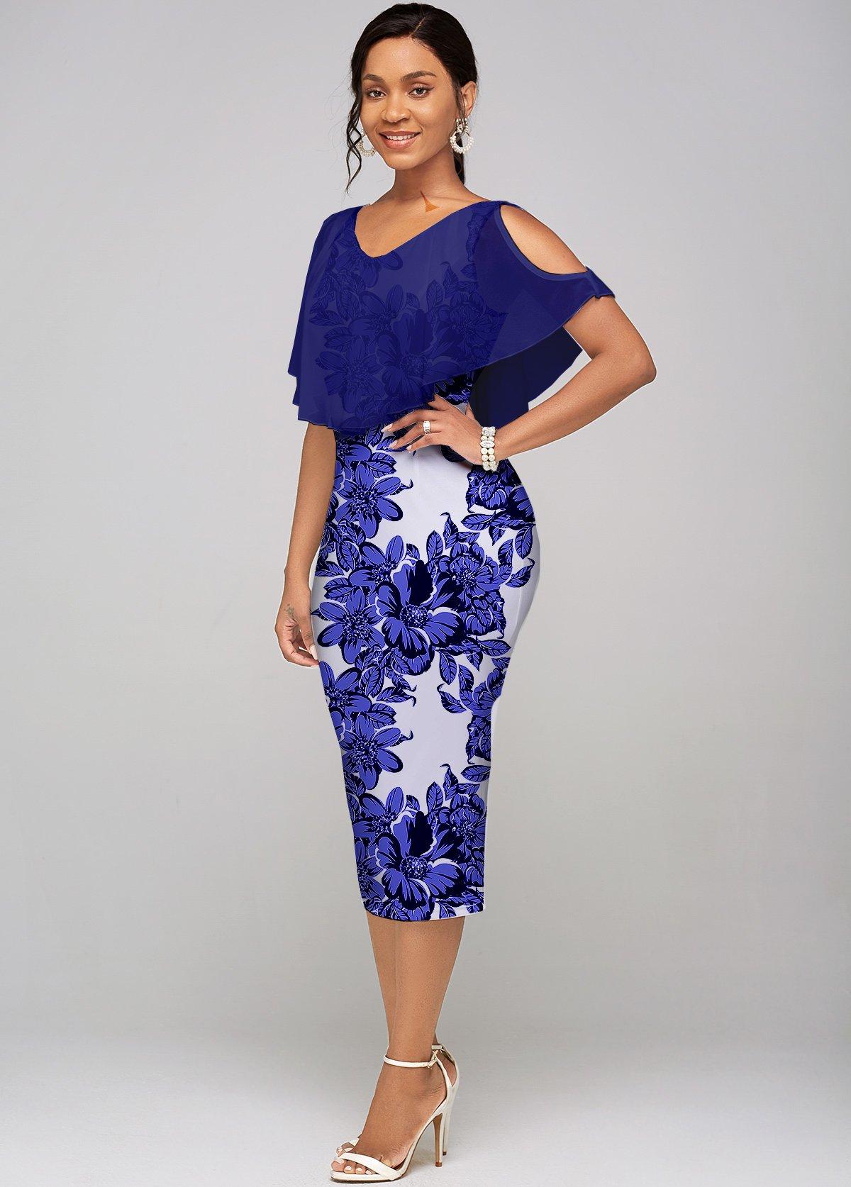 Cold Shoulder V Neck Floral Print Dress