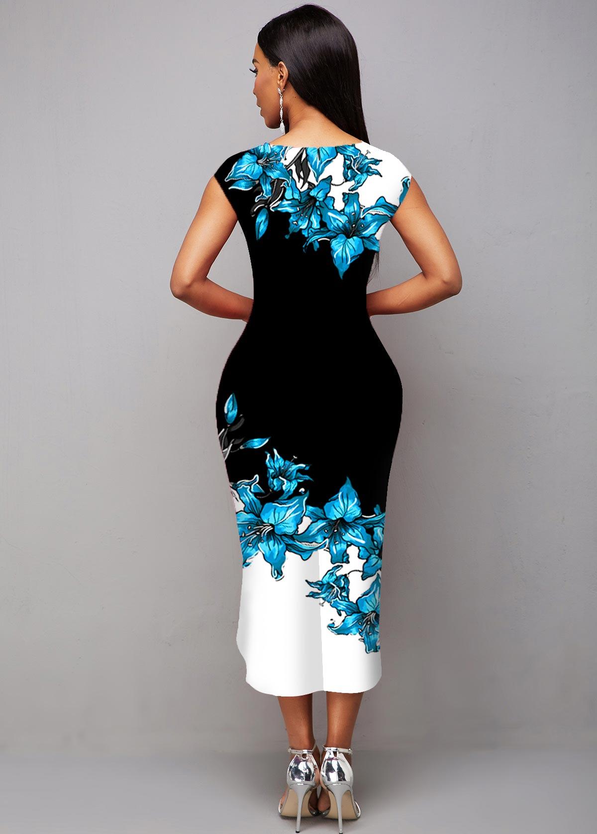 Floral Print Asymmetric Hem Contrast Dress