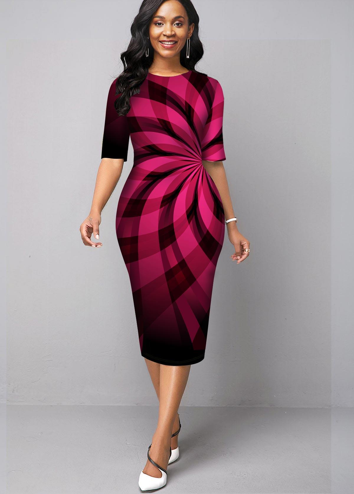 Geometric Print Ombre Round Neck Dress