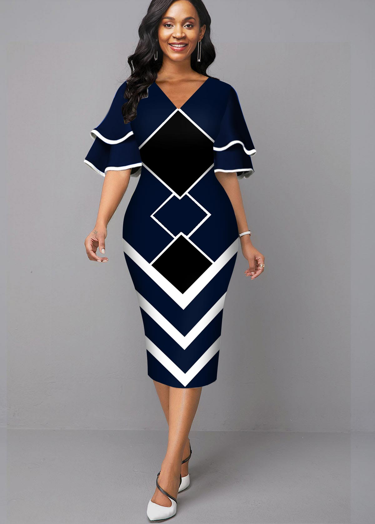 Geometric Print V Neck Sheath Dress