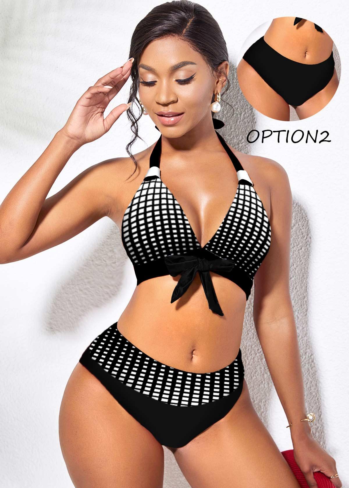 Reversible Geometric Print Bowknot Mid Waist Bikini Set