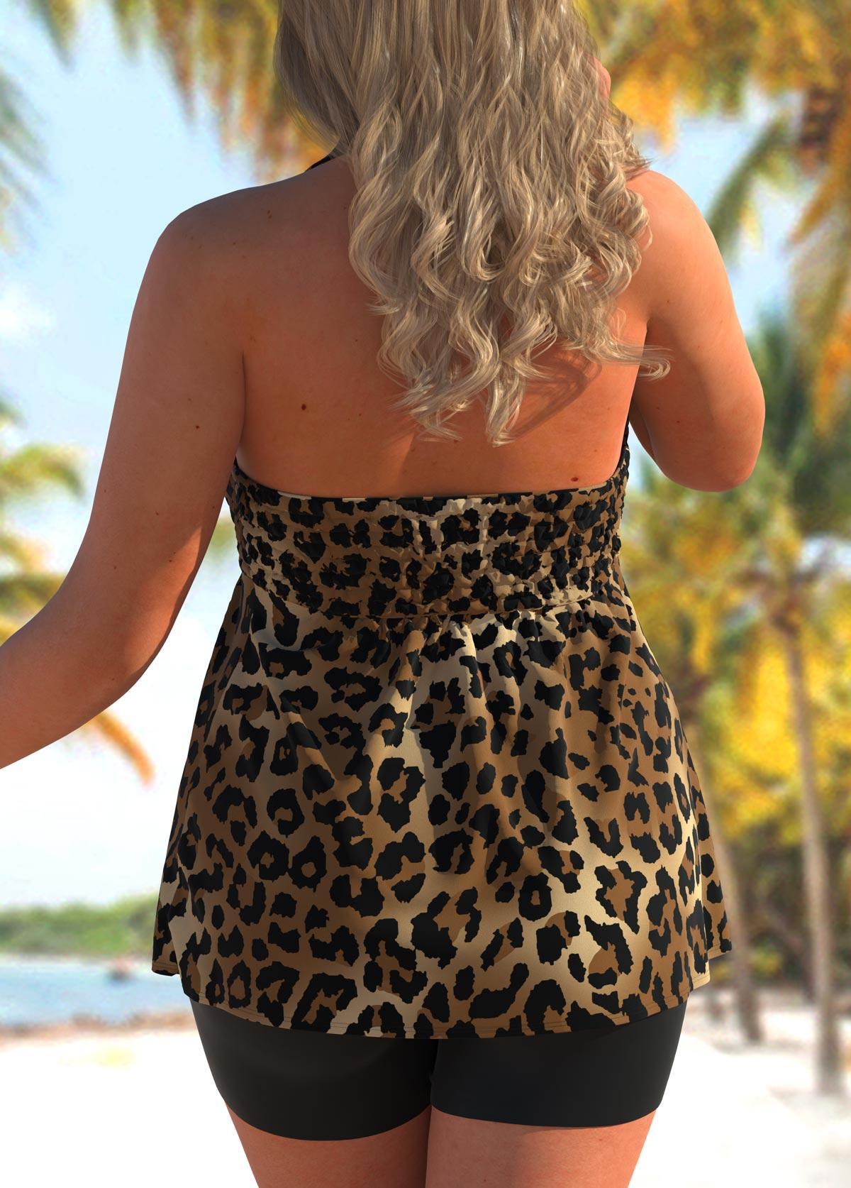 Smocked Leopard Plus Size Halter Tankini Set