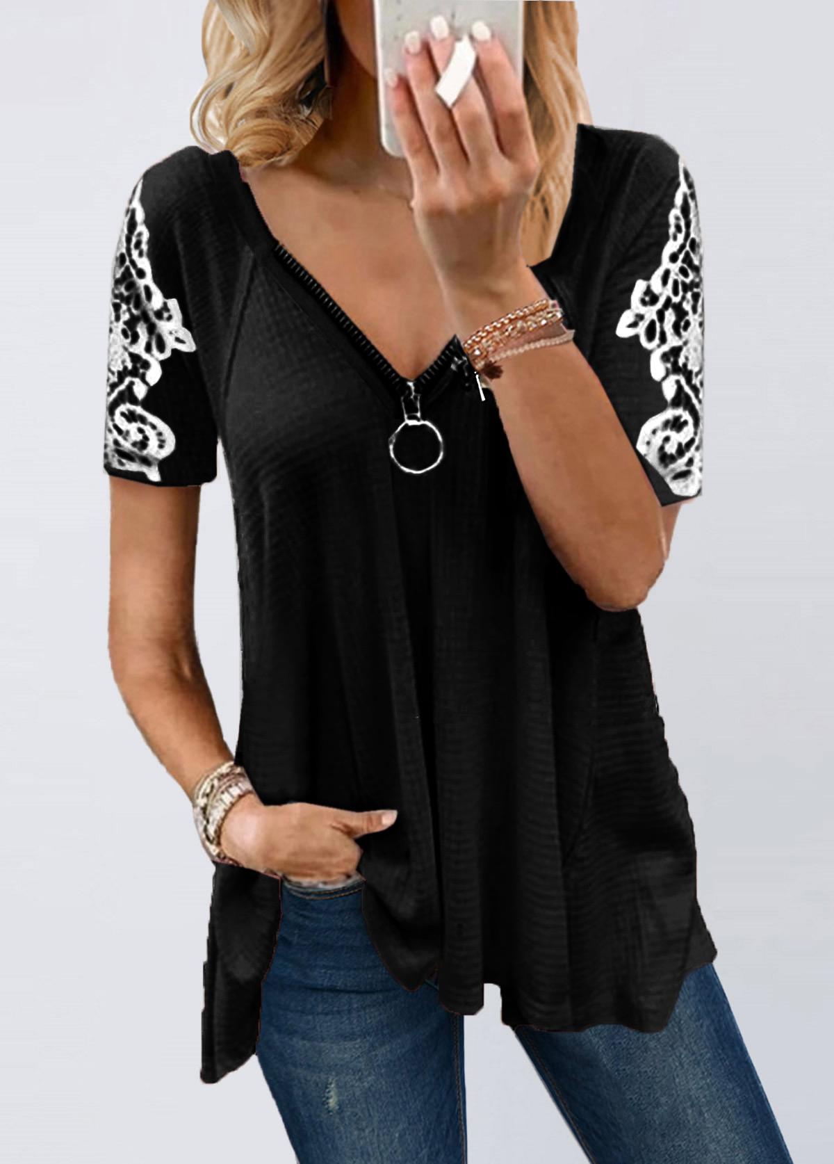 Zipper Lace Patchwork Short Sleeve T Shirt