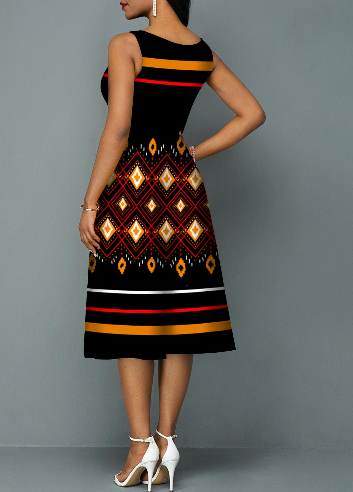Sleeveless Geometric Print Tribal Print Round Neck Dress