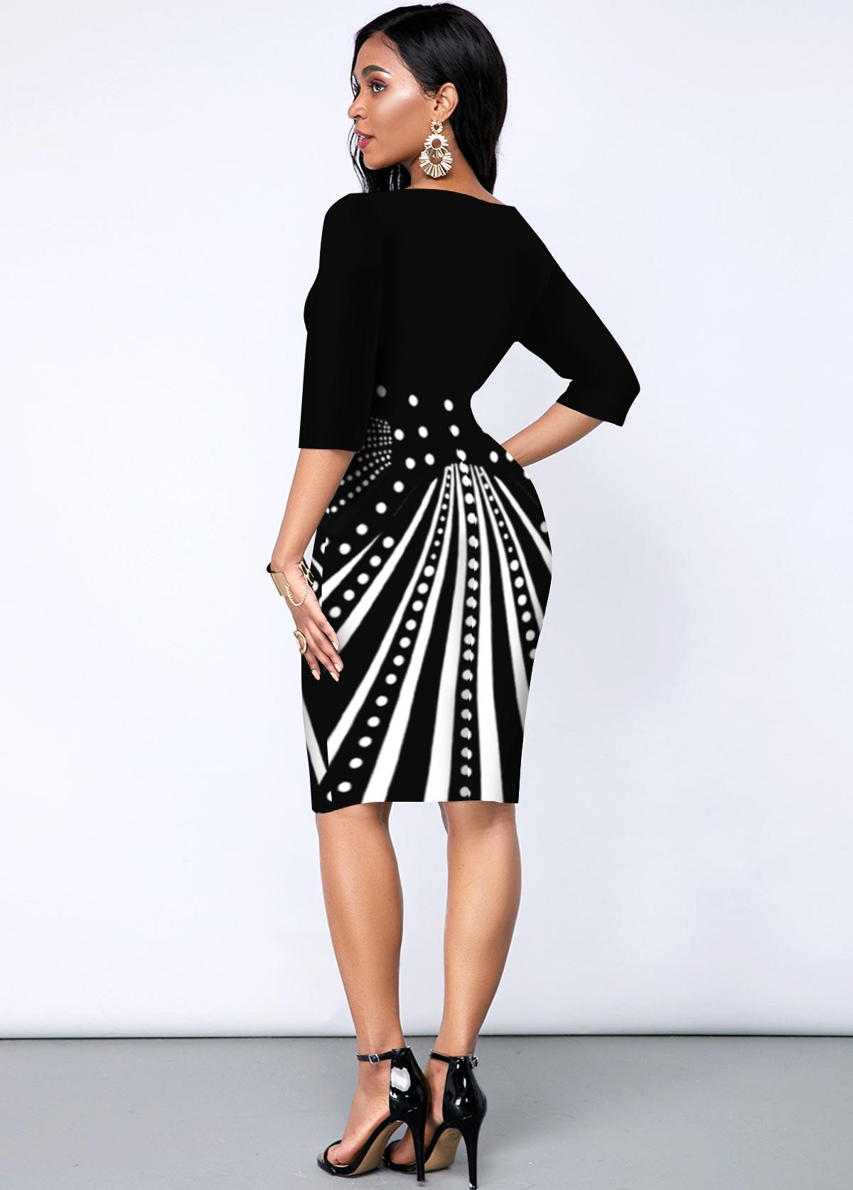 Geometric Print Three Quarters Sleeve V Neck Dress