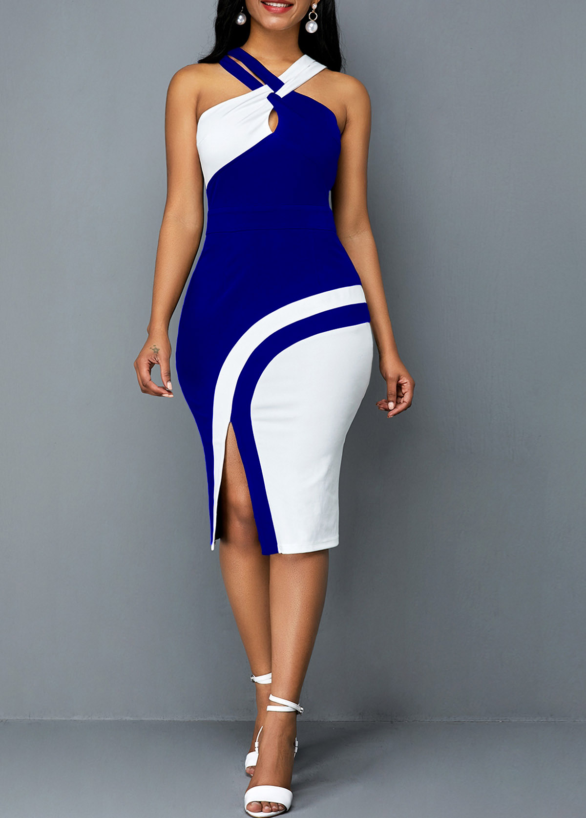 Side Slit Contrast Sleeveless Bodycon Dress