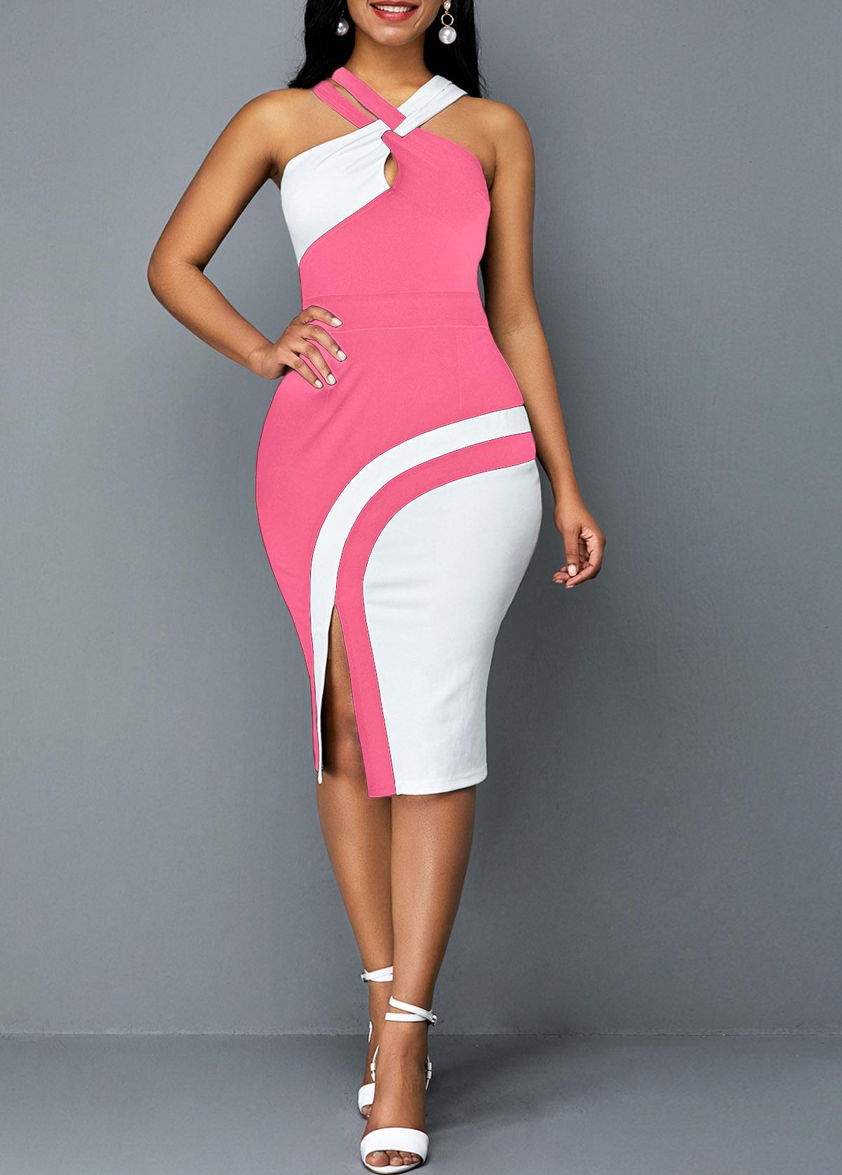 Sleeveless Contrast Side Slit Bodycon Dress