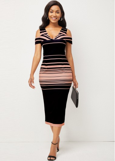 Rosewe Cocktail Party Dress Cold Shoulder Striped V Neck Bodycon Dress - XL