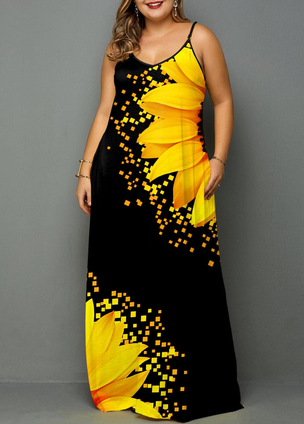 Plus Size Spaghetti Strap Sunflower Print Side Pocket Maxi Dress