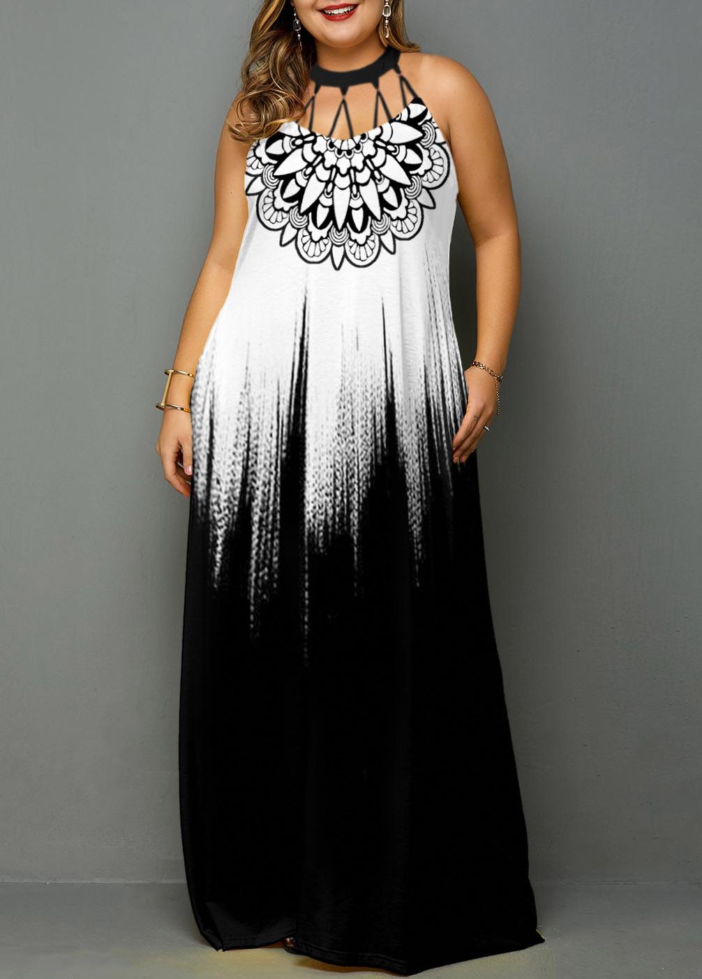 Tribal Print Gradient Plus Size Maxi Dress
