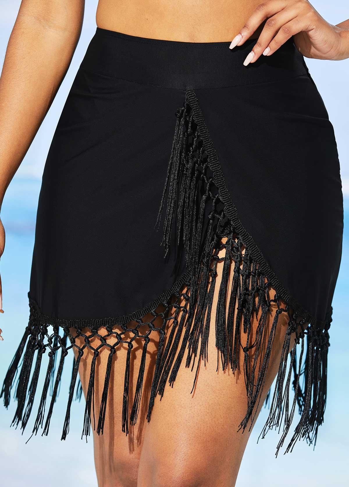Tassel High Waisted Solid Swim Skirt