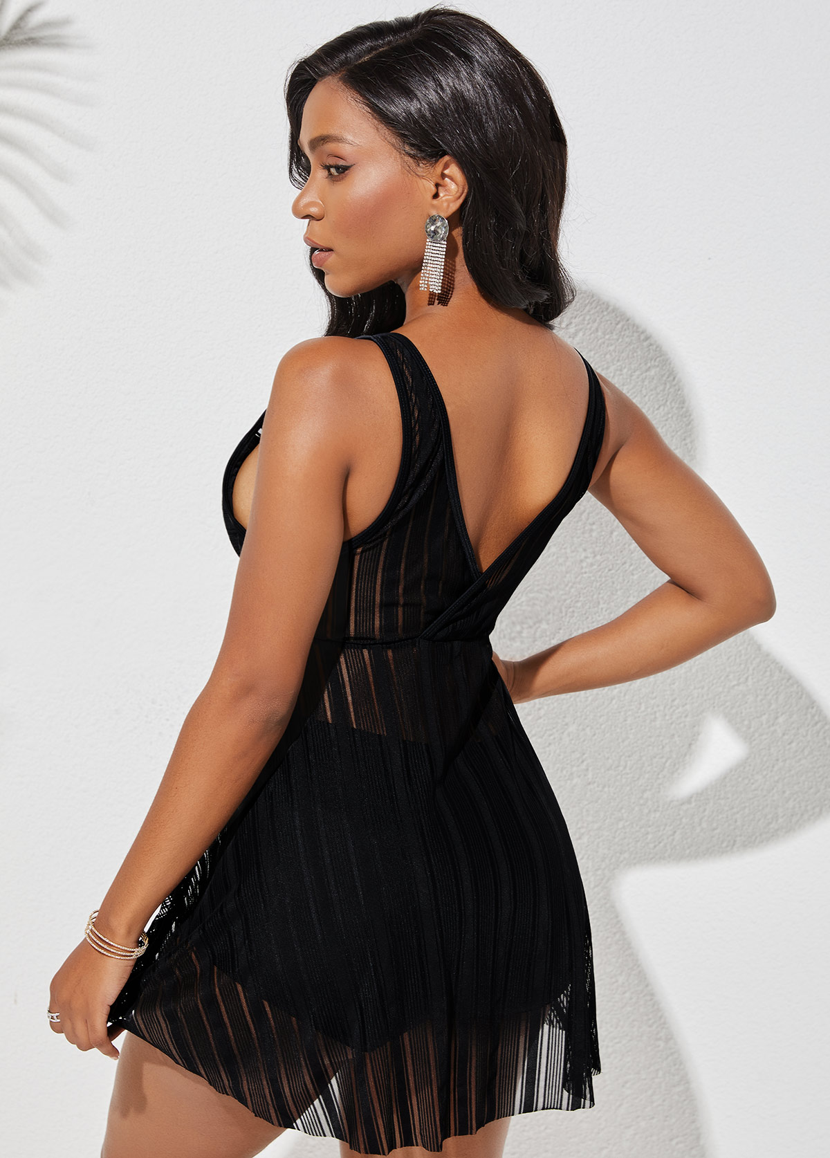 Cross Front Wide Strap Lace Swimdress and Shorts