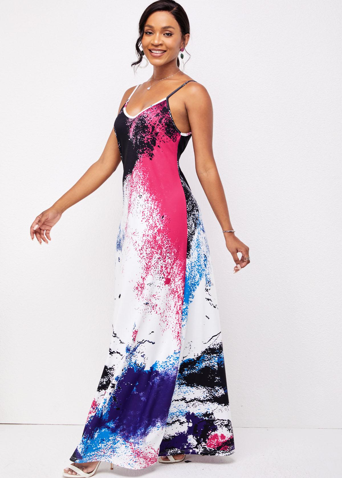 Spaghetti Strap Ombre Double Side Pockets Dress