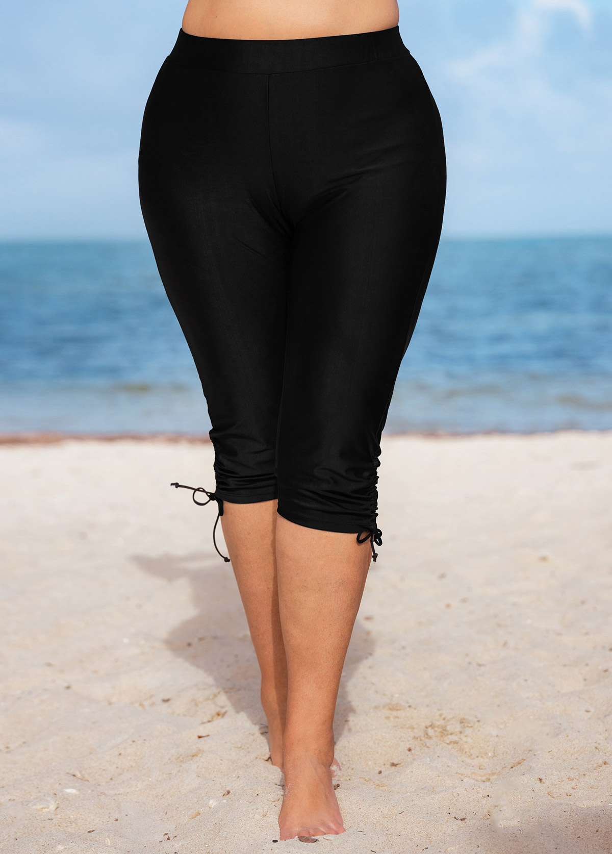 High Waisted Drawstring Detail Solid Plus Size Swim Shorts