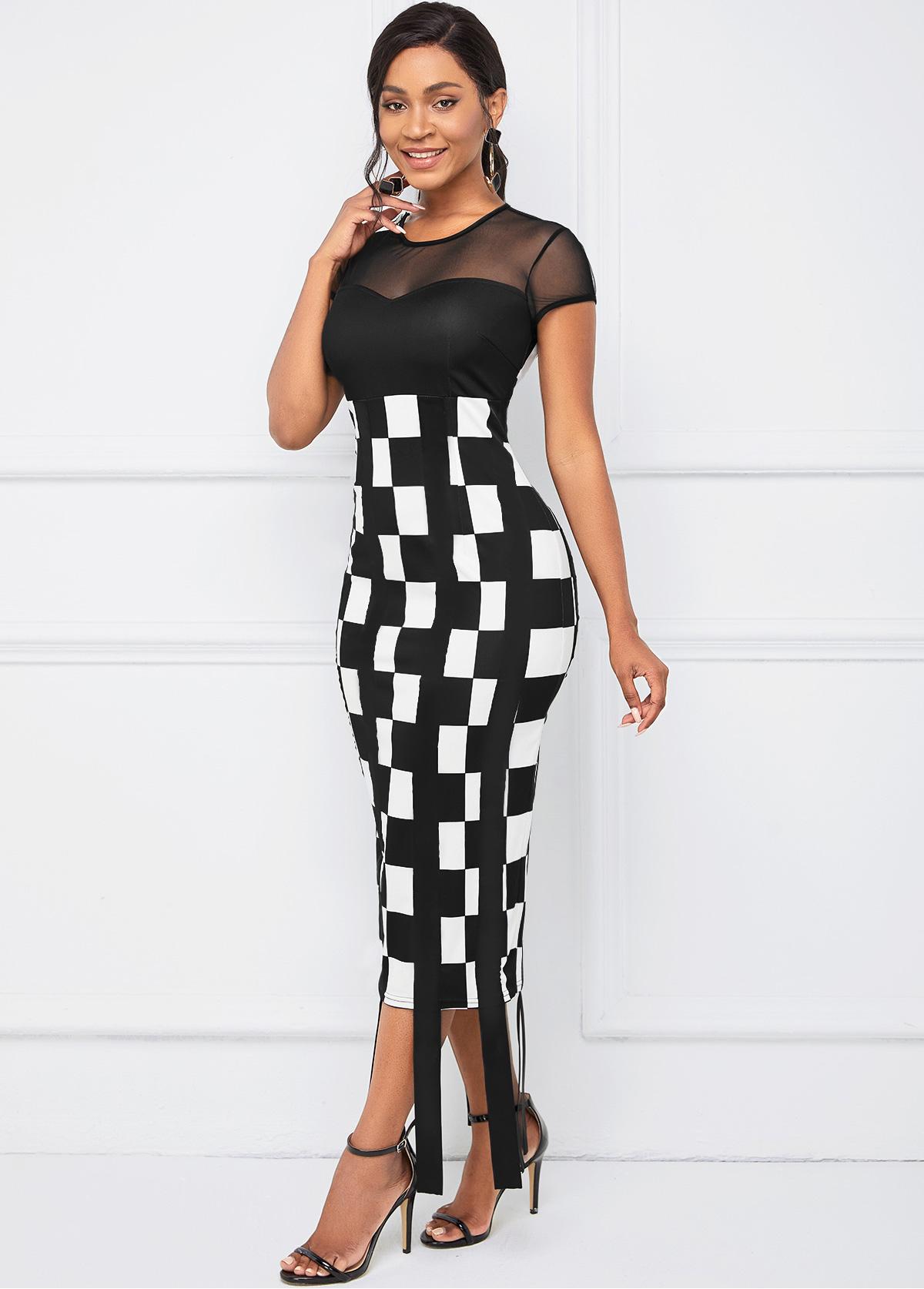 Round Neck Mesh Stitching Plaid Dress