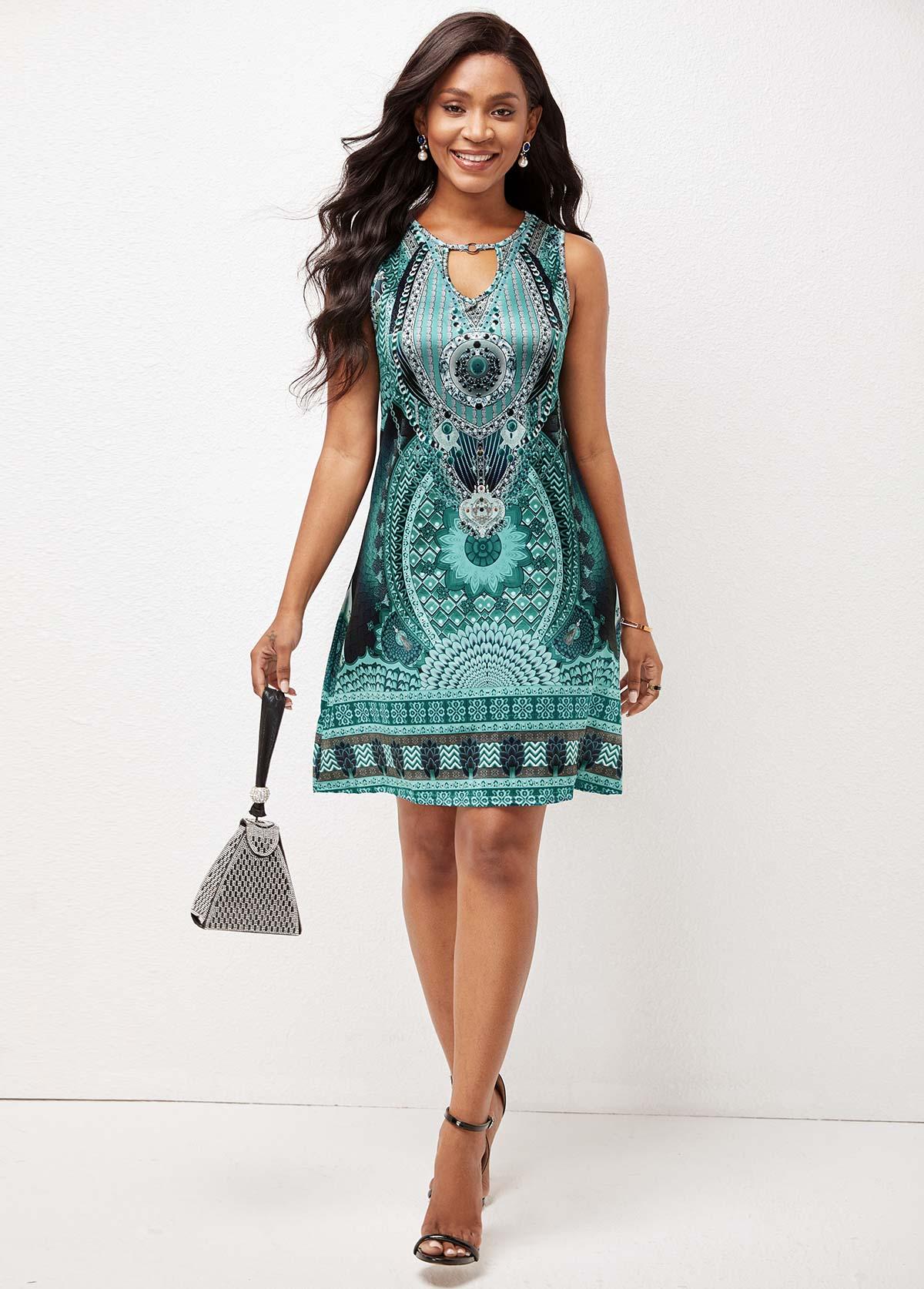 Keyhole Back Printed Cutout Front Sleeveless Dress