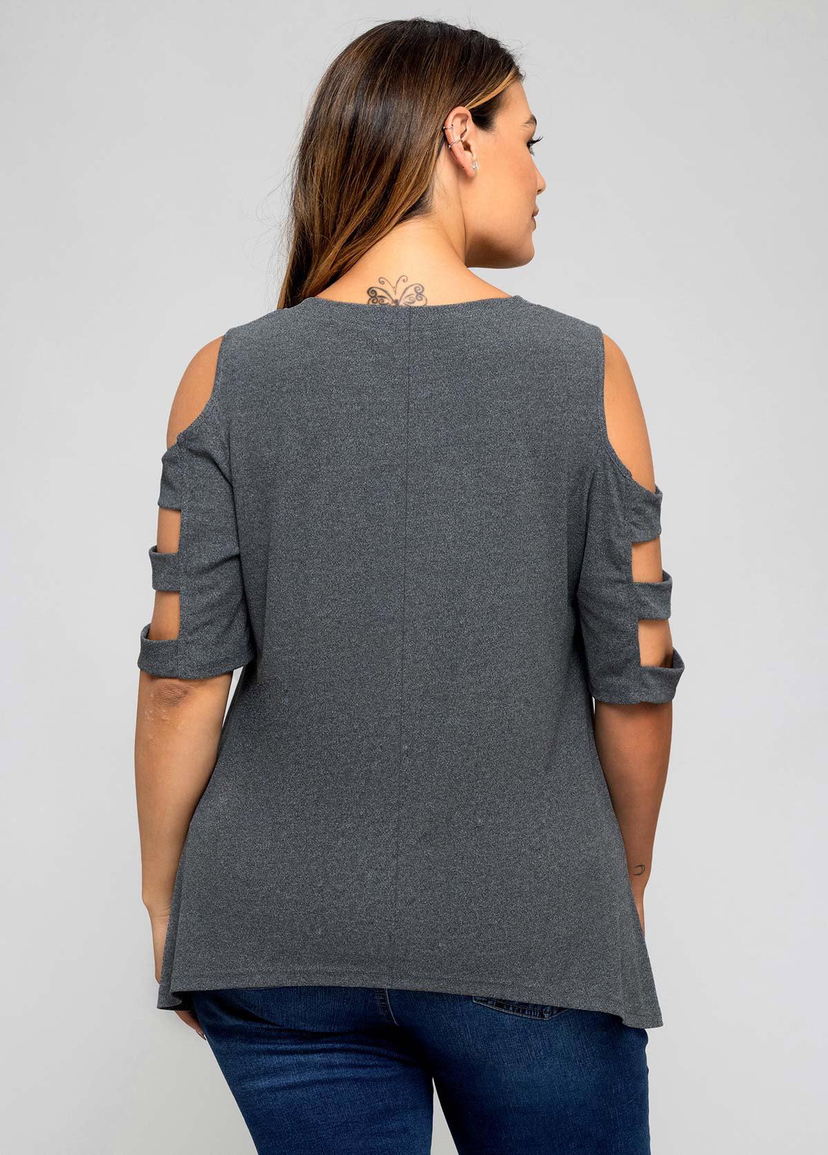 Solid Plus Size Ladder Cutout T Shirt